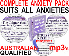 CALMER YOU ANXIETY CLINICAL HYPNOTHERAPY HYPNOSIS NLP MEDITATION CD mp3 s + BOOK