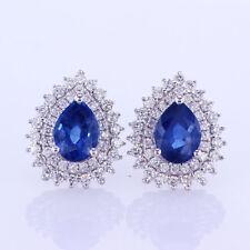 2.10 CTW Diamond & Sapphire Earrings 18K White Gold 0.50''
