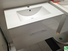 Ex-Display Arto Leone 750mm x 450mm Wall Hung Vanity in White with Ceramic Top