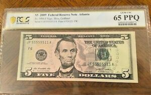 2009 $5 Fancy Serial Number Binary -55555511-PCGS 65PPQ-6  5's on a $5 bill