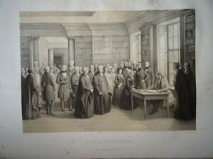 GRANDE LITHO SCENE ROI LOUIS PHILIPPE ORLEANS REINE VICTORIA ANGLETERRE 1846 J
