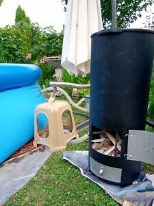 Poolheizung Feuer Heizspirale Pool Holz heißes Poolwasser