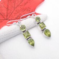 Peridot grün rund eckig Tropfen Design Ohrringe Ohrhänger 925 Sterling Silber