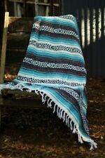 Authentic Mexican Falsa Blanket Hand Woven Mat Blanket 72L x 48W inch Turquoise