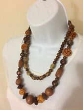 """Vintage Tribal Style Wood Fashion Jewelry Beaded Necklace Length 11"""""""