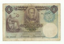 Portugal 5 Escudos P114 dated 1914 VG+ to aFine