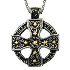 New Nordic Lights Runic Celtic Cross Stars Pendant Necklace Pewter Gilt Viking