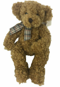 "Vintage Russ Berrie Kensington Bear Woolly Material Plaid Ribbon Rare 14"""