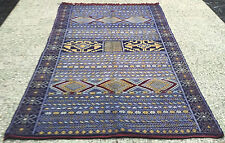 Moroccan Middle Atlas Berber Kilim Rug Carpet - Blues and Beautiful  7 x 4.5