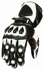 TPU Knuckle RIDEX G7 Motorbike Motorcycle Leather Gloves White & Black