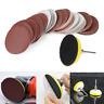 2'' 50mm Hook & Loop Sanding Sander Backing Pad Palm Shank + 60x Sandpaper Disc