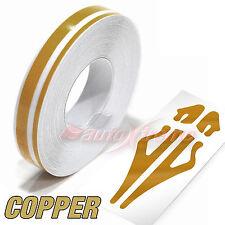 """12mm 1/2"""" Doppel Zierstreifen AUFKLEBER Linienband Dekorstreifen KUPFER GOLD"""