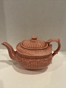 Bordallo Pinheiro Portugal Earthenware Pink Grape Leaf Teapot with Lid RARE