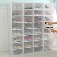 Shoe Box Storage Plastic Transparent Organizer Drawer Case Stackable Foldable