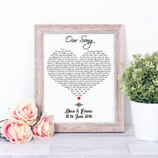 Personalised OUR SONG Word Art Print Paper Anniversary 1st Dance Valentines Gift