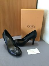 NIB Tods Womens Black Leather Heels Pumps Shoes Size 35 US 4.5 Made in Italy