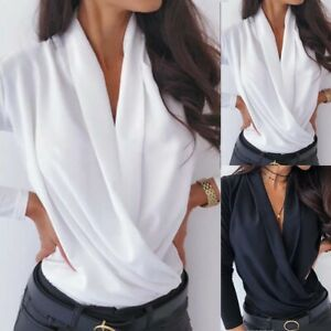 Women Long Sleeve Tunic T Shirt Blouse Ladies V neck Tee Top Party Pullover 8-18