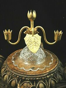 Antique Crystal Cut Art Glass & Gold Leaf Epergne Stand ~ John Walsh Walsh Era