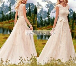 Bohemian Wedding Dress Lace Cap Sleeve Scoop Neck Summer Bridal Gown Custom Size