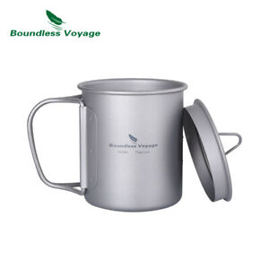 Titanium Coffee Cup with Lid Outdoor Camping Ultralight Water Tea Mug 200 450 ml