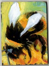 ACEO original oil painting insect BUSY BEE flower impressionist art signed ATC