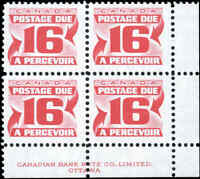 Mint NH Canada 1973-74 F-VF Block of 4 Scott #J37 & ii 16c Postage Due Stamps