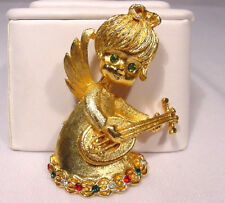 The Sweetest Vintage Angel Pin Playing a Mandolin Christmas Color Rhinestones