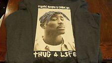 Rare 2Pac TUPAC SHAKUR THUG LIFE Gangsta Rap Blue Hoodie Graphic (XL) E.U.C