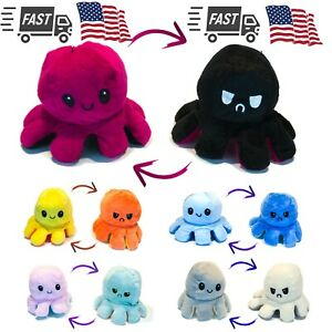 Reversible Mood Changing Octopus Plush - Flips Angry to Happy - Ships from USA