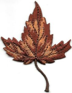 Autumn Brown Fall Leaf embroidered Patch