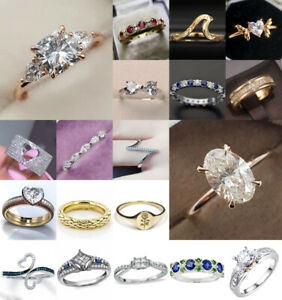 Fashion Women 925 Silver White Sapphire Ring Engagement Wedding Jewelry Sz 6-10