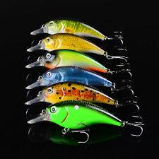New 6pcs Lot Fishing lures Exported Baits 7.6cm/10.2g Crankbait 6 color 8# Hooks