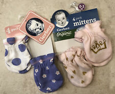 Gerber Baby Girl 2 Packs Of Two / Pink/Purple Cotton Mittens Size 0-3M