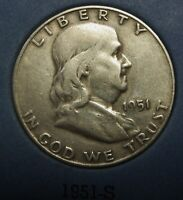 1951-S Ben Franklin Silver Half Dollar Average Circulated Condition Great Price