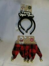 Jingle Bell Dog Collar & New Year Headband Holiday Size S/M Bells Red Christmas