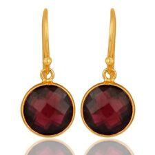 14K Gold Plated Sterling Silve Natural Garnet Gemstone Jewelry Dangle Earrings
