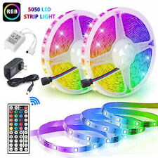 32.8Feet 2*5M RGB LED Strip Light SMD 44 Key Remote 12V DC Power Supply Kit 5050