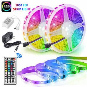 32.8Ft RGB LED Strip Light SMD 5050 lamp 44 Key Remote 12V DC Power Supply Kit