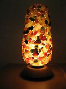 Tischleuchte Lampe ' Halbedelstein Vintage 60er 70er alt Hippie Tischlampe Fund