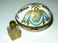 Limoges Box - Floral Egg & Flask - Roses & Ribbons & Perfume Bottle - Ribierre