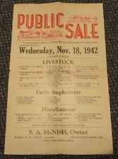 1942 near Clinton Kansas Public Sale flyer McNish farm implements livestock