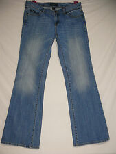 Women's Banana Republic Jeans Lt Med Lined Stone Wash Size 8 X 31 Flare Mid Rise