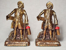 Town Crier/Near Mint Polychrome Gray Metal Bookends by the PM Craftsman Company