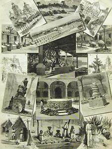 MEXICO CITY TACUBYA MONTEZUMA VOLCANO 1877 Antique Art Print Matted