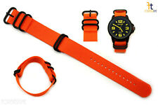 24mm Fits Luminox Nylon Woven Orange Watch Band Strap 4 Black S/S Rings