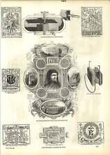 Old Incisioni ritratto William Caxton Stampo tipo fondatori piano lavaggio motore