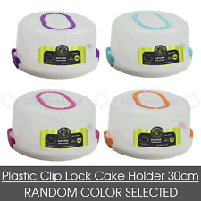 1pc Round Plastic Cake Carrier Holder 30cm Clip Lock Container Portable Dome