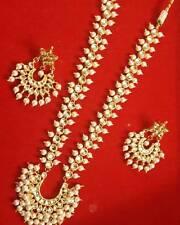 Gold Tone Kundan Necklace Earring Bollywood Wedding Bridal Jewelry Set ES