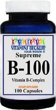 B-100 VITAMIN COMPLEX 800MG B1 B2 B3 B12 PABA INOSITOL SUPPLEMENT 100 CAPSULES
