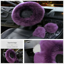 Purple 3Pcs Long Plush Wool Steering Wheel Cover Furry Fluffy Car Accessories